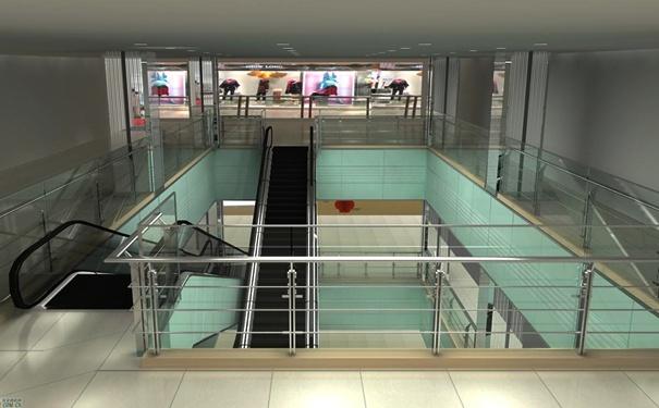 室内不锈钢楼梯扶手高度安装效果图