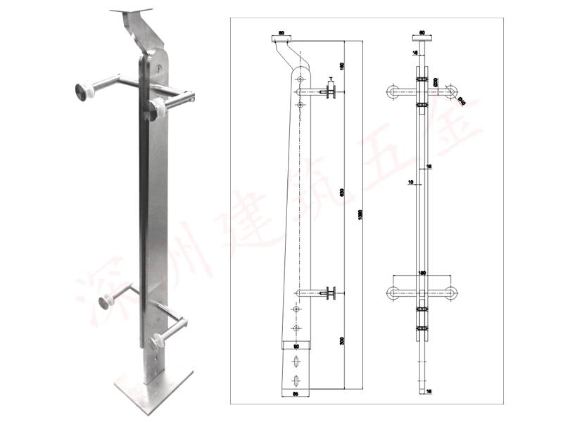 玻璃护栏不锈钢栏杆立柱(H-LZ125)